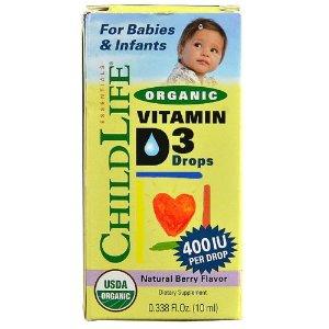 CHILDLIFEEssentials Organic Vitamin D3 Drops Berry -- 400 IU - 0.388 fl oz