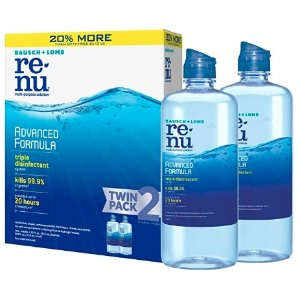 $9.29 Bausch + Lomb ReNu Advanced Triple Formula Multi-Purpose Eye Contact Lens Solution 12 Fluid Ounces (Pack of 2)