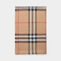 Burberry Giant Check Gauze 羊毛混纺围巾