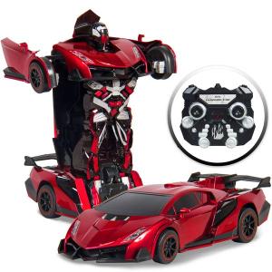 $30+包邮 几秒钟流畅切换赛车和机器人1:16 复刻 变形金刚遥控玩具 可发光可发声 3色选