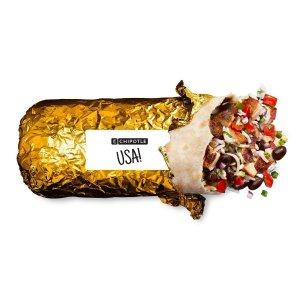 满$10免运费Chipotle 限时推出 奥运会限定版金色包装卷饼