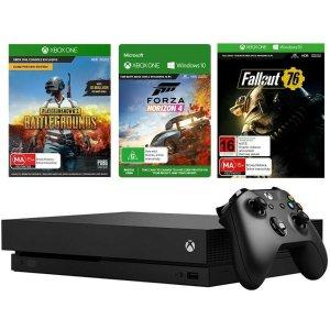 $494(原价$549) 吃鸡神器Xbox One X 1TB版 主机 + 3个游戏套装