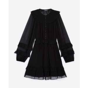 The KooplesShort black dress with smocking and frills