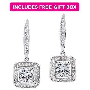 ac7115fac Jade MarieJade Marie Enchanting Silver Dangle Crystal Halo Earrings, 18k  White Gold Plated Princess Cut