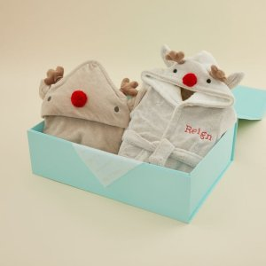 My 1st YearsPersonalized Reindeer Robe and Hooded Towel Gift Set Welcome %1
