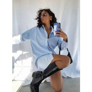 Caira Shirt Mini Dress Blue