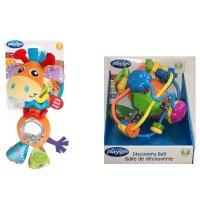 playgro 带颈圈长颈鹿+手摇铃铛球玩具2件套