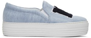 Joshua Sanders: Blue 'NY' Double Slip-On Sneakers | SSENSE