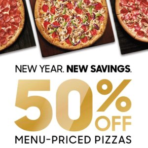 Last Day: 50% offExtra Savings on Menu-Priced Pizza
