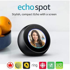 买2个立减$100, 每个$119.99(原价$169.99)黒五价:Echo Spot 可视化 语音助手 - 黑白两色可选