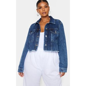 PrettyLittleThingPlus Mid Blue Washed Denim Crop Jacket