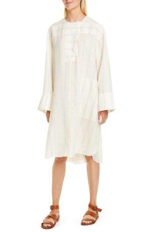 Lee Mathews Granada Stripe Long Sleeve Ramie Dress | Nordstrom