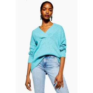 TopshopKnitted Wide Ribbed Longline Jumper