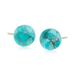 Ross-Simons10mm Turquoise Bead Stud Earrings in 14kt Yellow Gold | Ross-Simons