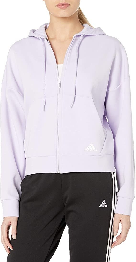 adidas 香芋紫女士连帽开衫卫衣 XS码、L码特价