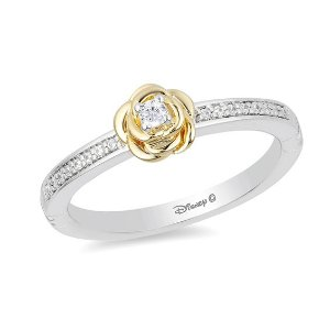 Enchanted Disney Belle 1/10 CT. T.W. Diamond Rose Ring in Sterling Silver and 10K Gold - Size 7|Zales