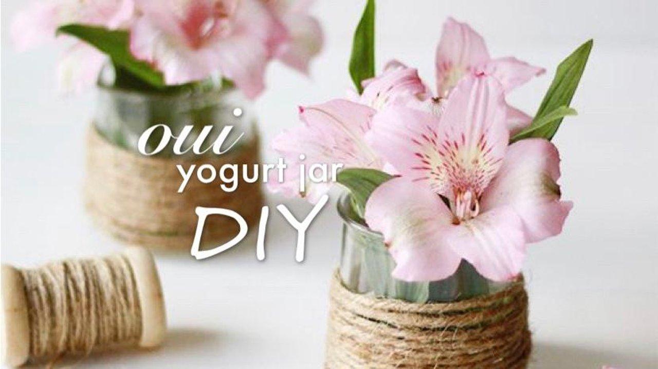 oui酸奶瓶upcycle再利用的九个ideas