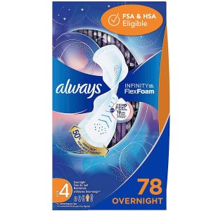 Always Infinity Feminine Pads with Wings for Women, Size 4, Extra Heavy Overnight, Unscented, 26 Count (Pack of 3)