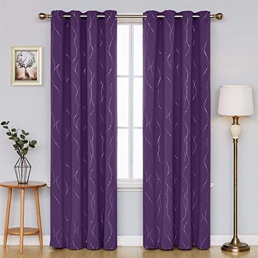52 x 84 Inch 紫色遮光窗帘 2片