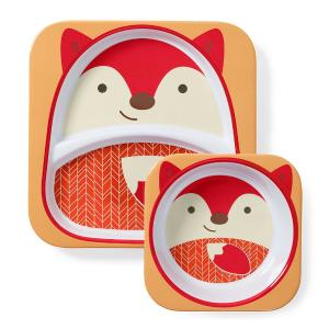 $11.89 (原价$13.59)Skip Hop 狐狸图案宝宝碗盘套装