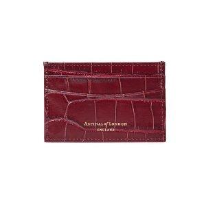 Aspinal of London鳄鱼纹酒红色卡包