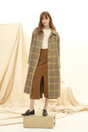 QUAINT 2019 AW PHIPHI Plaid Cashmere-wool Blend Coat