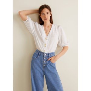 MangoButtoned textured blouse - Women | OUTLET USA