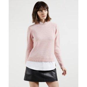粉色假两件针织衫