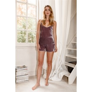 Silk-Velvet Camisole Set-Mauve Sea fog