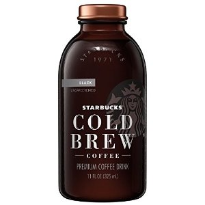 StarbucksCold Brew Coffee, Black Unsweetened, 11 oz Glass Bottles, 6 Count