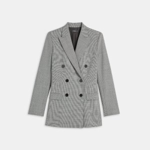 Double-Breasted Blazer in Stretch Houndstooth | Theory