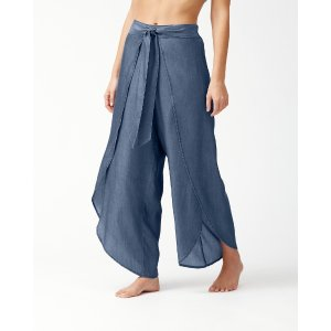 Tommy BahamaChambray Wrap-Front Beach Pants