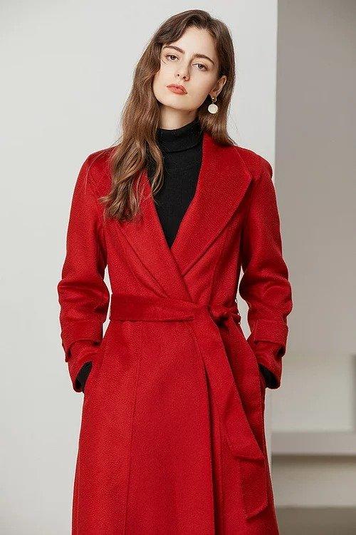 正红色水波纹双面羊毛大衣