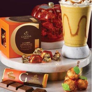 $9.95起+限时任意单包邮Godiva 南瓜、枫糖核桃等秋季巧克力开售,收南瓜灯礼盒