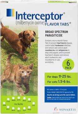 Interceptor Tablets for Dogs 11-25 lbs & Cats 1.5-6 lbs, 6 treatments - Chewy.com