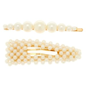 Gold Pearl Hair Pin & Snap Clip - Ivory, 2 Pack