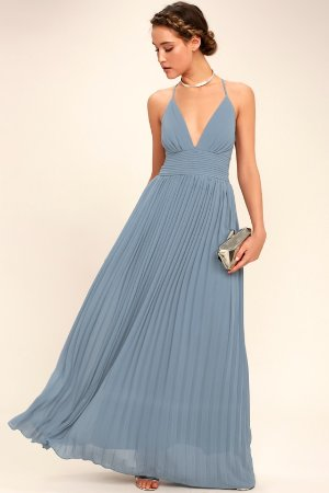 Stunning Dusty Blue Dress - Pleated Maxi Dress - Blue Gown