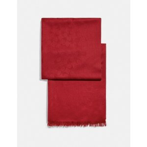 Coach85%羊毛!多色可选红色logo围巾