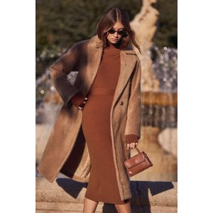Right Beside Me Brown Turtleneck Midi Sweater Dress