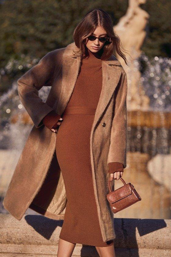气质焦糖色超保暖针织裙