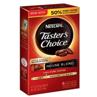 $9.56Nescafe Taster's Choice Instant Coffee, House Blend, 0.1 Ounce, 6 Count (Pack of 12)