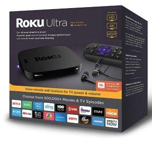 $69Roku Ultra 4K HDR 流媒体播放器 送JBL配套高保真耳机