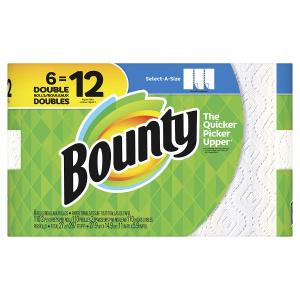 $9.97(原价$17.98)史低价:Bounty 厨房纸大大6卷装 相当于普通12卷 吸水吸油能力一级棒