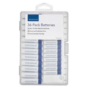 Insignia AAA 7号、AA 5号 碱性电池 36颗