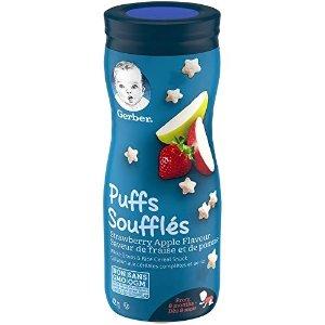草莓苹果味GERBER PUFFS 宝宝水果泡芙6瓶