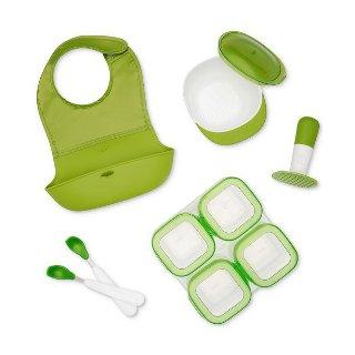 $27.99包邮OXO Tot 宝宝辅食套装 围嘴+喂养勺+研磨碗+四个4盎司辅食盒