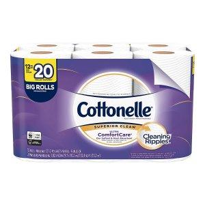 $5.7 包邮Cottonelle 超舒适卫生纸 12卷装