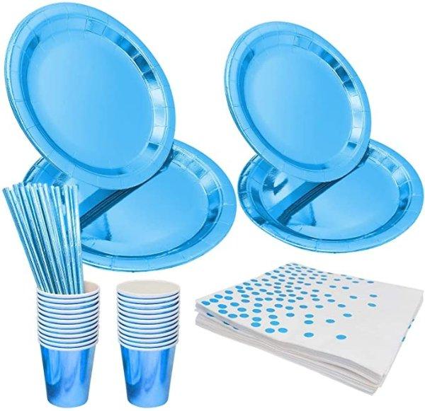 蓝色一次性餐具99件