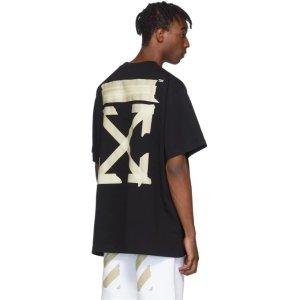 Off-White封面款黑色 男女同款贴布T恤