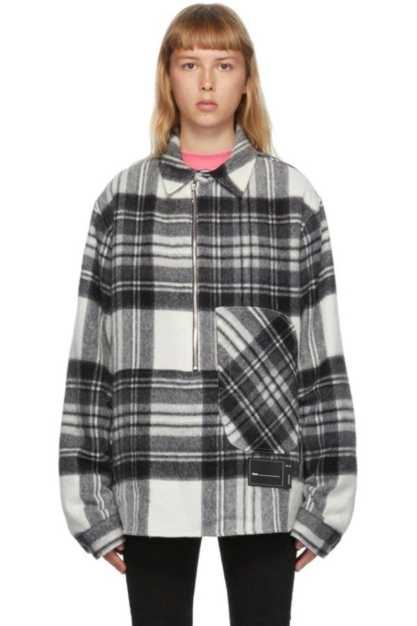 Grey Wool Plaid Anorak 格纹外套